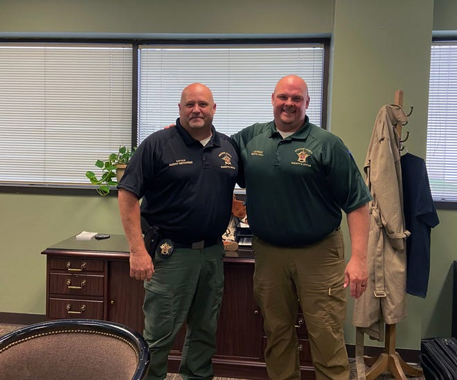 GCSO Capt. Harvey Smitherman, left, is training Marty Hall to become the Administrative Captain when Smitherman retires this week.