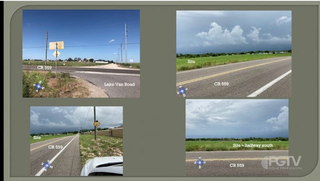 Views of the proposed site from intersecting roads as presented to the Polk County Planning Commission.