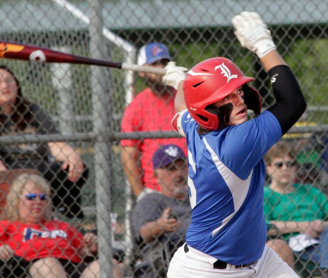 Tanner Pipes of the NEMO Post 6 Sixers follows through with his swing and watches as he puts the baseball into play during a Senior American Legion AAA home game played earlier this 2021 season. NEMO Sixers went 4-1 to finish in third place Sunday at the Elsberry tournament.