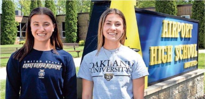 MacKenzie Bucki (left) was salutatorian of Airport High School Class of 2021. Her twin sister, Payton, was valedictorian. Photo by Tom Hawley/Monroe News.