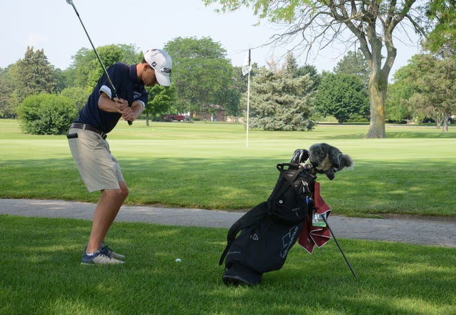 Cole Piedmonte-Lang of Monroe chips on the second hole during the second round of the La-Z-Boy Junior Open at Green Meadows Golf Course Wednesday.
