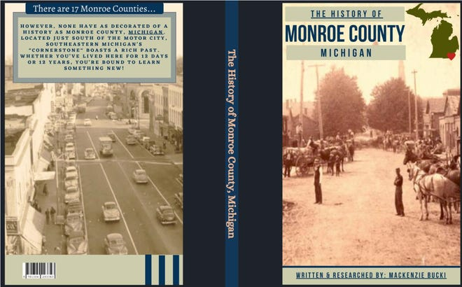 """The front and back covers of MacKenzie Bucki's new book are shown.  The front cover shows Front St. in Monroe in the late 19th-century. The back cover shows the same street, but in the mid-20th century. """"I like how each photo came from a different time period, but was taken from the same vantage point,"""" said MacKenzie."""