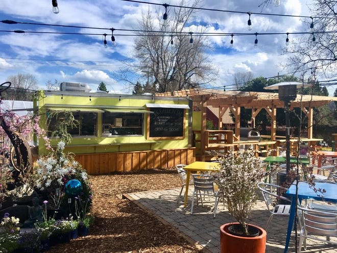 The Garden Tap food truck in Mount Shasta is in the middle of a garden oasis.