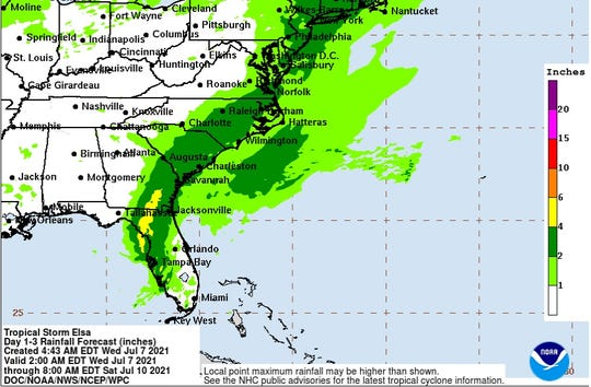 This is from the 8 a.m. Tropical Storm Elsa advisory from the National Hurricane Center.