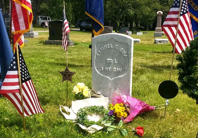 A recently installed headstone for Samuel E. Qua is seen at Gaylord's Fairview Cemetery.