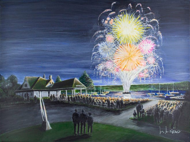 Venetian art 2021. This is the first painting featuring Friday night fireworks at Depot Beach — most years' selections show downtown in some capacity.