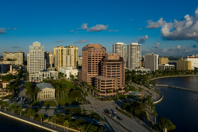 A view of Phillips Point tower in downtown West Palm Beach, where donors to Habitat for Humanity Palm Beach County could get a chance to rappel down 19 stories.