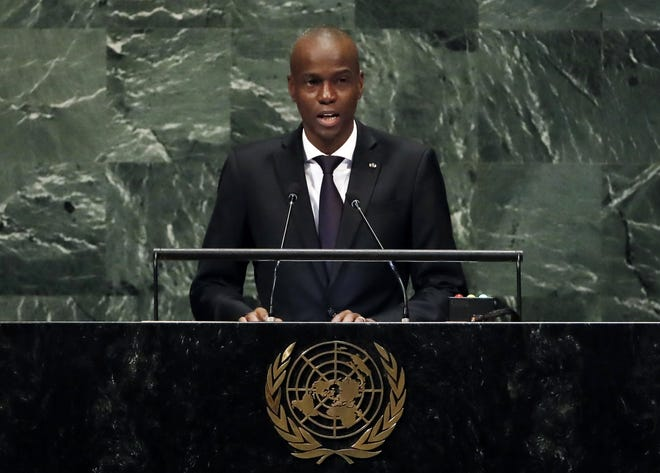 FILE - In this Sept. 27, 2018, file photo, Haiti's President Jovenel Moise addresses the 73rd session of the United Nations General Assembly, at U.N. headquarters in New York. (AP Photo/Richard Drew, File)