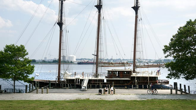 The tall ship Peacemaker, docked in Providence.