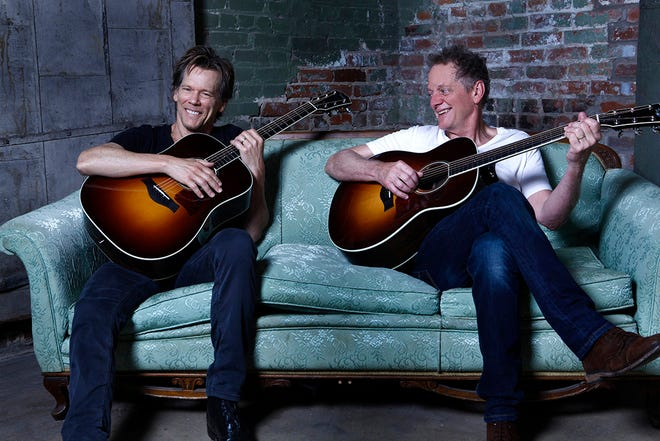 The Bacon Brothers — actor Kevin, left, and Emmy-winning composer Michael — will perform in a sold-out show July 16 at the Greenwich Odeum in East Greenwich.