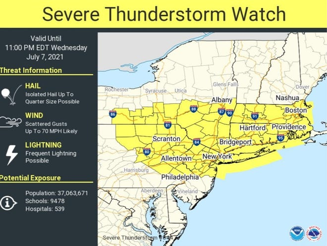 A severe thunderstorm has been issued by the National Weather Service.