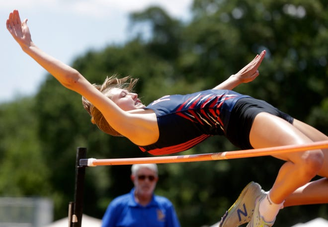 Portsmouth's Morgan Casey, shown at the state meet on June 13 at Conley Stadium, cleared 5-6½ in the high jump at the Outdoor Nationals in Oregon last weekend.