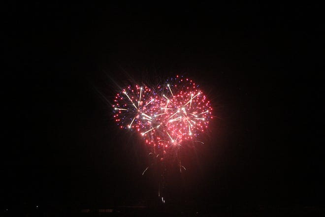 Fireworks form the shape of a heart at the July 3, 2021 show at the Desert Empire Fairgrounds.
