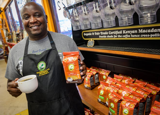 Martin Kabaki co-owns the Growers Alliance coffee shop on Anastasia Boulevard in St. Augustine with his partner Purity Gikunju.