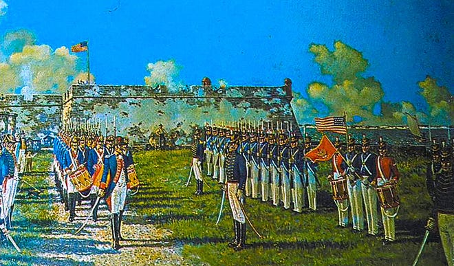 A painting by Calvin Smith depicts the ceremony held on the grounds of the Castillo de San Marcos on July 10, 1821, transferring Florida from Spain to the United States.