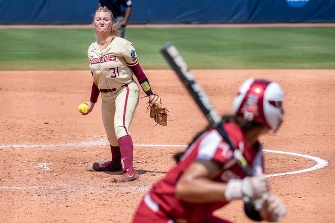 Former Penn High School star Danielle Watson had quite the season for Florida State in 2021, winning two games during the College Softball World Series and earning the start against No. 1 Oklahoma in the national championship game shown here.