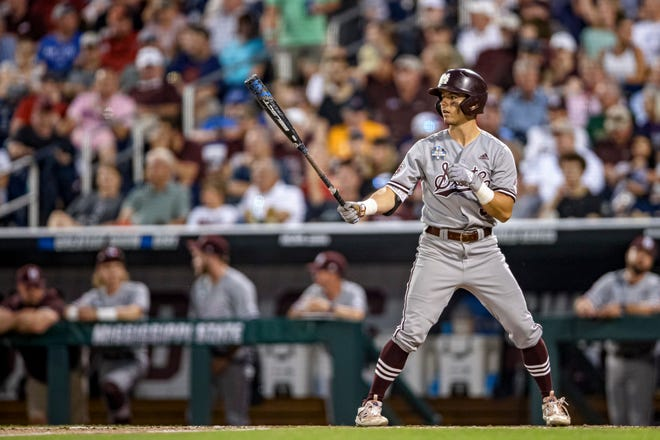 Mississippi State second baseman Scotty Dubrule, a Venice High graduate, steps to the plate during Game 1 of the 2021 College Baseball World Series national championship series vs. Vanderbilt at TD Ameritrade Park in Omaha, Neb. COURTESY PHOTO/AUSTIN PERRYMAN/MISSISSIPPI STATE ATHLETICS