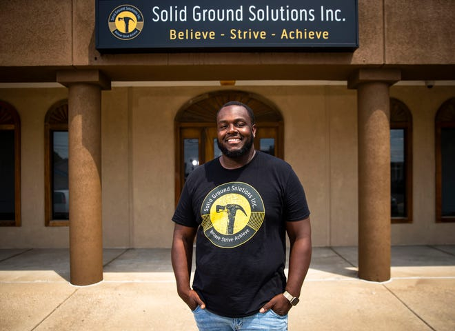 William Bishop IV, former Lanphier High School and Western Illinois University athlete, is the founder and CEO of Solid Ground Solutions Incorporated which provides project management and construction cleaning services where he creates job opportunities for people in the neighborhoods where he grew up. [Justin L. Fowler/The State Journal-Register]