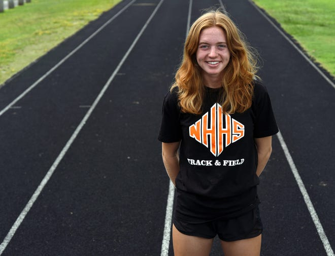 New Hanover's Meagan Lundin at the 13th and Ann practice facility in Wilmington, N.C., Wednesday, July 7, 2021. Lundin is the StarNews all-area girls track and field athlete of the year.    [MATT BORN/STARNEWS]