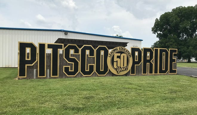 PITSCO Education sign commemorating their 50 anniversary which is this year.