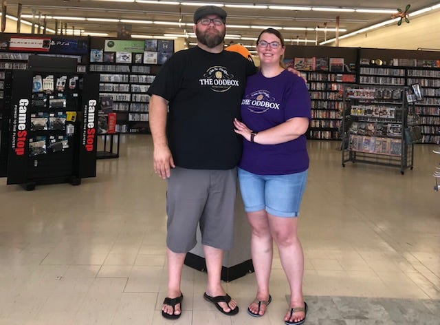 Jason Sharrock and Courtney Keffer are owners of the Oddbox Video Game Store on Main Street in Newcomerstown.