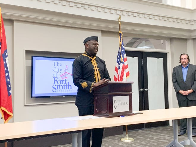 Nigerian artist Ibiyinka Alao talks about his recent time in Fort Smith on Tuesday afternoon.