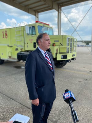 U.S. Sen. John Boozman tours the 188th Wing at Ebbing Air National Guard Base in Fort Smith on Wednesday, July 7, 2021.