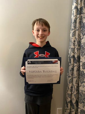 Marshfield students Nathan Boshans and Caileen Consoli placed in the top three spots in their divisions across Massachusetts in the 2020-21 Americanism Essay Contest, sponsored by the Benevolent and Protective Order of Elks. Pictured is Nathan Boshans.