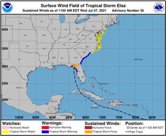 A tropical storm watch is now in effect for New Jersey's coastline, including areas southeastern Ocean and all of Atlantic counties.