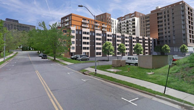 Renderings show plans for 22 Woodfin Street, the current Four Points Sheraton hotel, presented July 7 at the Asheville Planning and Zoning Commission meeting.