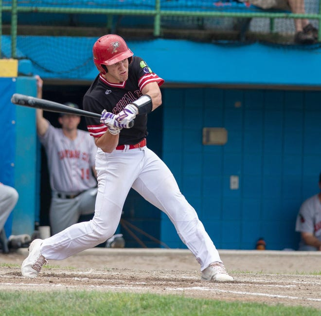 Jack Merrifield of the Battle Creek Bombers takes a swing during the first half of the season in the Northwoods League at C.O. Brown Stadium.