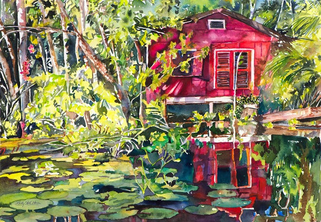 """""""Living on the Sweet River"""" is among the watercolors by Lolly Walton on display through September at the Galleries at First Pres in Vero Beach."""