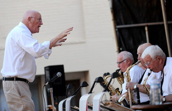 John Kennedy directs his orchestra during the 2015 Galion Oktoberfest.