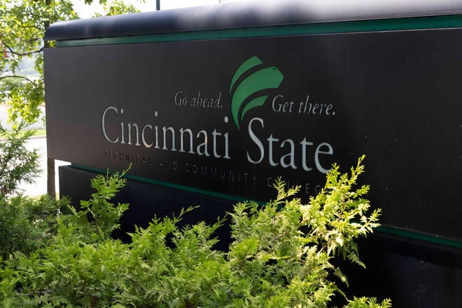 A general view of an entrance sign at Cincinnati State Technical and Community College in Clifton photographed, Wednesday, July 7, 2021.