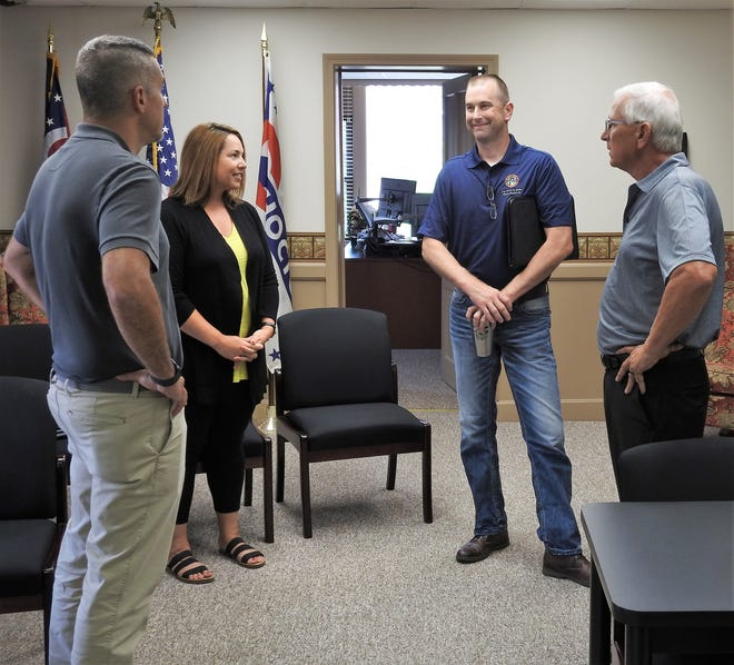 New Ohio House Rep. Kevin Miller, second from right, meets with Coshocton County Prosecutor Jason Given, Coshocton County Port Authority Director Tiffany Swigert and Coshocton County Commissioner Dane Shryock in the commissioners' office. Miller recently visited the area to speak with local leaders and he plans to visit often.