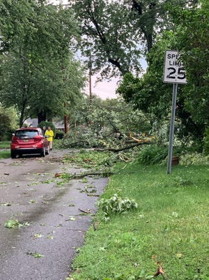 A downed tree in Farmington Hills is shown Thursday, July 8, 2021, after storms in southeast Michigan left many without power the night before.