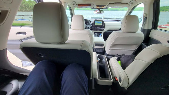 """6'5"""" Detroit News auto critic Henry Payne could sit behind himself sitting behind himself in the third row of the 2022 Nissan Pathfinder."""