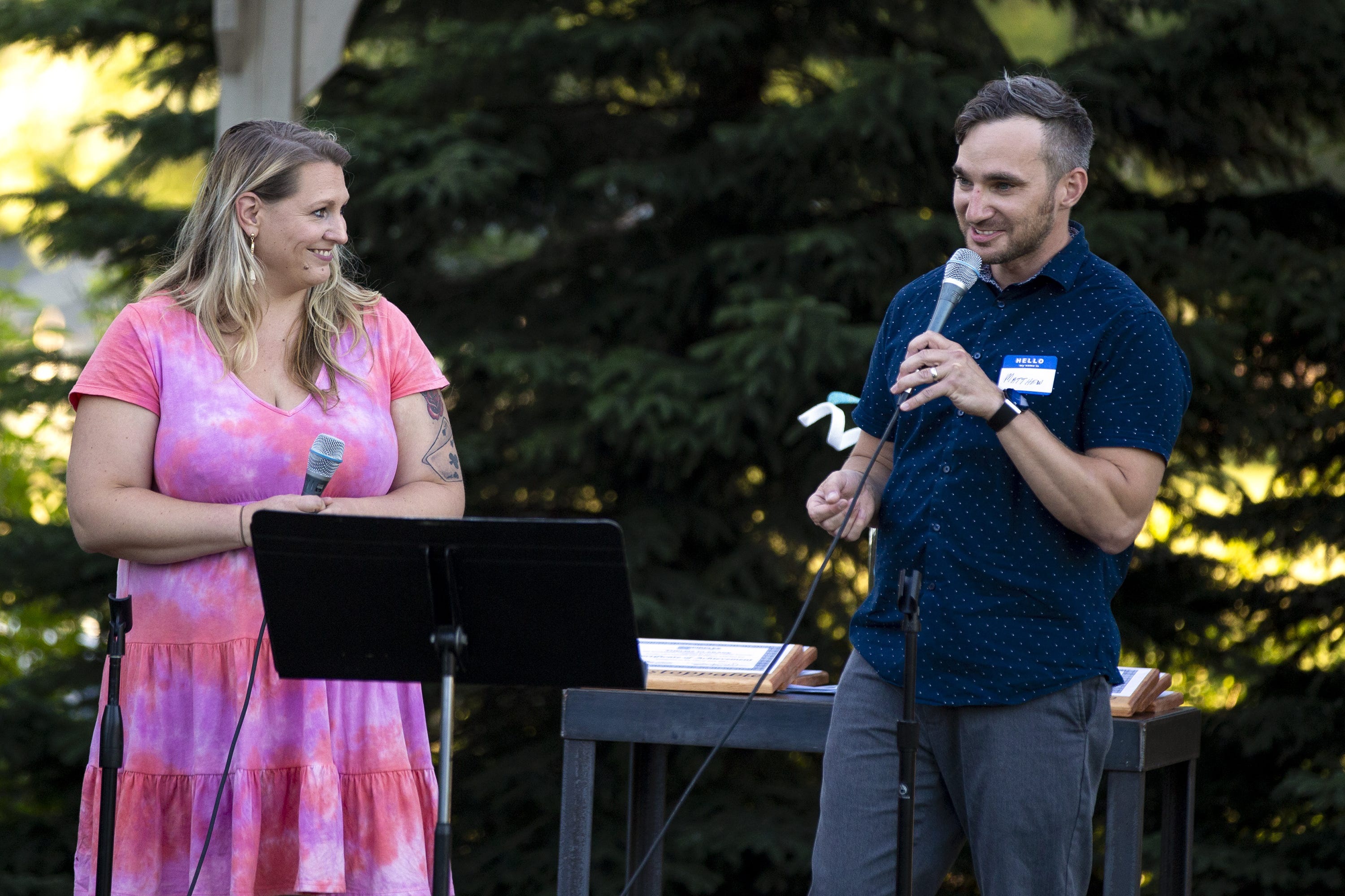 Circles Coaches, Elizabeth Clark and Matthew Hastreiter speak during Circles Green Bay commencement ceremony, at Green Bay Community Church, Monday, June 14, 2021, Green Bay, Wis. Samantha Madar/USA TODAY NETWORK-Wisconsin