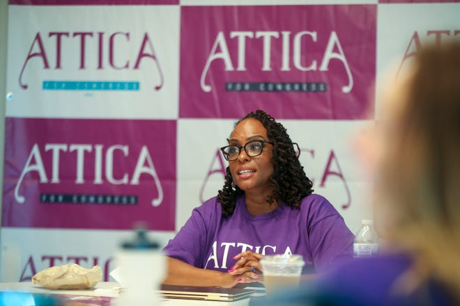 Kentucky Rep. Attica Scott met with supporters after her Wednesday morning announcement that she would run against  incumbent 3rd District Congressman John Yarmuth in 2022. July 7, 2021