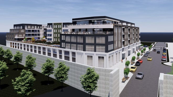 A rendering of Current812, a proposed apartment and retail complex in Clarksville, Indiana.