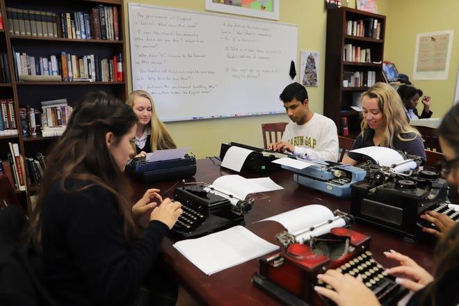 Derek Demmler's writing club at Rabun Gap Nacoochee School in Rabun Gap, Georgia, using typewriters.