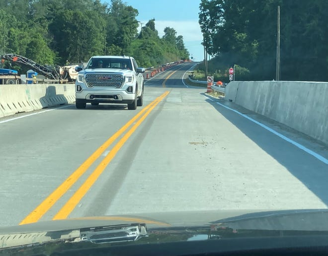 Although construction continues, north-south, two-way traffic returned to the Ohio 37 bridge in Granville on the afternoon of July 7.