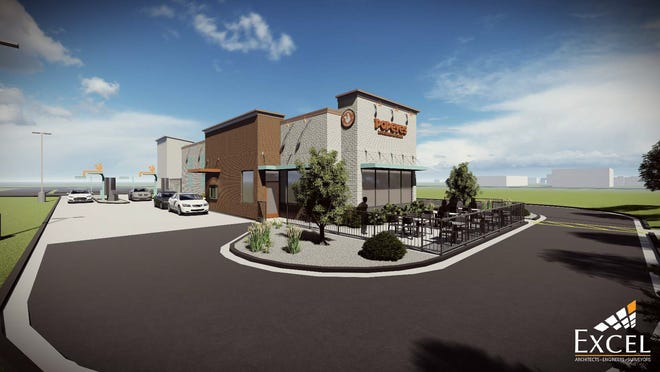 This artist's rendering shows the nontraditional Popeyes proposed for Oshkosh Avenue. The Oshkosh Plan Commission will recommend approving the plans to the Common Council.