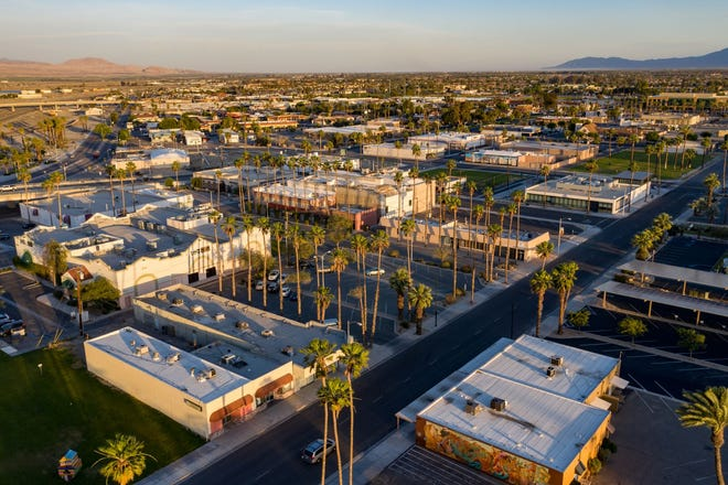 An aerial view of Indio.