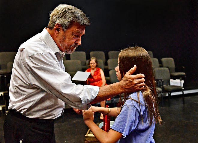 """Director Jaci Keagy, center, of Springettsbury Township, looks on as Carly Geiter (Helen Keller), 11, right, of Hempfield Township, and Jack Harman (Captain Arthur Keller), of Spring Garden Township, brush up on a scene from, """"The Miracle Worker"""" at Belmont Theatre in Spring Garden Township, Wednesday, July 7, 2021. The show will open Sept. 17, after it was shutdown in March of 2020 because of the COVID-19 pandemic. Rehearsals will begin Aug. 23, with seven of the original 14 cast for the production, including Geiter. Dawn J. Sagert photo"""