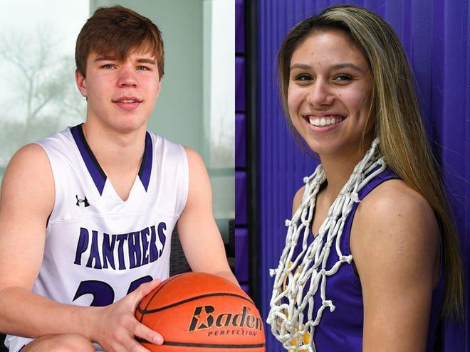 2021-22 Argus Leader Athletes of the Year Paul Bruns (Dakota Valley) and Caelyn Valandra-Prue (White River).