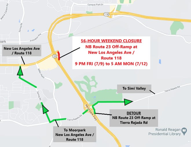 The off-ramp for New Los Angeles Avenue along Northbound Highway 23 in Moorpark will be closed for drainage work from 9 p.m. Friday until 5 a.m. Monday.