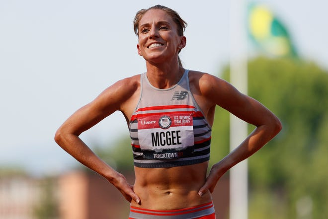 Cory McGee celebrates after the Women's 1500 Meters final during the U.S. Olympic Track & Field Team Trials at Hayward Field on June 21, 2021 in Eugene, Oregon.