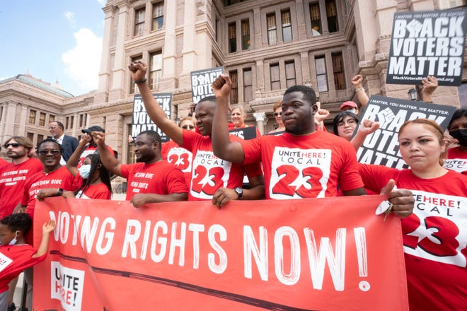 A coalition of voting rights groups, including Black Voters Matter and the Texas Right to Vote Coalition, rally Thursday at the Capitol to decry election bills being considered by the Legislature.