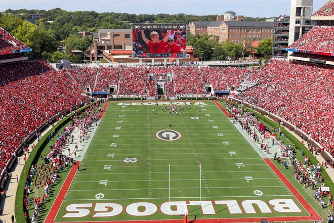 Sanford Stadium during the first half of a NCAA football game between Georgia and South Carolina in Athens, Ga., on Saturday, Oct. 12, 2019. [Photo/Joseph Sisson Contributor, Athens Banner-Herald]
